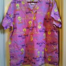 Womens Scrubs Nursing Top Tweety Bird Puddy Cat Large Scrub Top New