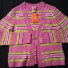 NEW Womens Faded Glory Striped Stretch Cropped Cardigan Sweater Size Medium M