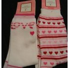 2 Pair Socks Valentines White Pink Red Hearts and White Love NEW