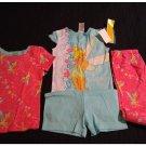 Disney Fairies Tinkerbelle 4 Piece Pajama Set Sleepwear Size 8 Pants Shorts Tops NEW