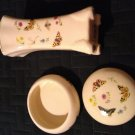 NEW Old Stock Porcelain Vase with Matching Porcelain Box Butterfly Floral Design