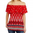 NEW Red Printed Ruffle Off the Shoulder Peasant Top by Faded Glory Small 4-6
