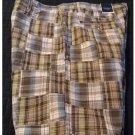 NEW Mens Plaid Patchwork Shorts in Brown Blue Sz. 34 Flat Front Sonoma Brand $36.00