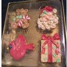 "NEW Old Stock Silvestri ""Old Tyme"" Ornament Set - Santa - Teddy Bear - Cardinal - Gift"