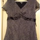 Apt. 9 Womens Sheer Babydoll Top or Shirt Black Tile Print Large Size NEW