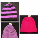 NEW Lot of 3 Reversible Stocking Hats or Caps - Womens Colors - OSFA