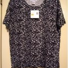 Sag Harbor Sueded Treasures Animal Print Sweater Top Shirt Black White Sz. Small NEW