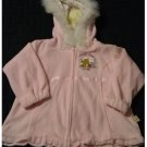 Disney Classic Winnie Pooh Toddler Velour Embroidered Ruffle Hoodie Pink Size 18M NEW