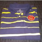 NEW Faded Glory Boys Vintage Wash Striped Polo Golf Style Shirt XL or 14/16 Navy Blue Yellow