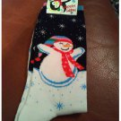 Women's Christmas Crew Socks - Black White Snowman & Snowflakes Shoe Size 4-10 NEW
