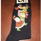 Women's Christmas Crew Socks - Black Santa & Gifts Shoe Size 4-10 NEW