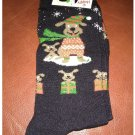 Women's Christmas Crew Socks - Black Cute Dog or Puppy & Gifts Shoe Size 4-10 NEW