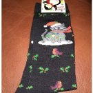 Women's Christmas Crew Socks - Black Cute Cat or Kitten & Holly & Cardinals Shoe Size 4-10 NEW