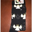 Women's Christmas Crew Socks - Black All Over Angel Pattern Shoe Size 4-10 NEW