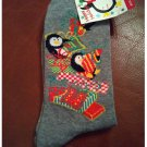 Women's Christmas Crew Socks - Gray Penguins & Holiday Tree & Gifts Shoe Size 4-10 NEW