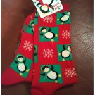 Women's Christmas Crew Socks - Red with All Over Penguin Plaid Shoe Size 4-10 NEW