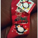 Women's Christmas Crew Socks - Red with Reindeer & Friends Pattern Shoe Size 4-10 NEW