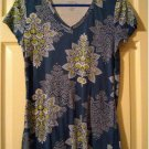 Sonoma Blue Paisley Womens Small S Everyday V-Neck Tee Shirt NWOT