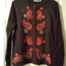 Womens Embroidered Cardigan Sweater by Croft Barrow Brown Dot Floral Print Size Small NEW