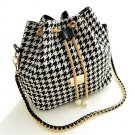 Stylish Women's Shoulder Bag With Houndstooth and Chains Design