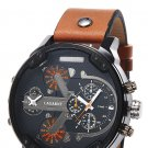 Male Luxury Business Double Movt Quartz Watch Date Function Decorative Sub-dials Leather Band