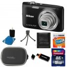 Nikon Coolpix S2800 20MP Digital Camera w/ 5x Zoom Lens Black +16GB Top ACC Kit