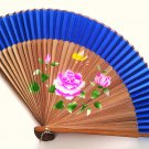 Bamboo and Silk Hand-fan 201053 Navy Blue with  Peony Flowers Butterfly and Flower Design