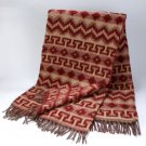 Maroon Tan Brushed Alpaca Wool Blanket Throw Striped Fair Trade 5'x7' Warm Peru