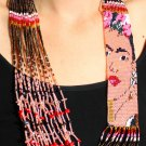 "Frida Kahlo Beaded Fair Trade Stranded Necklace Crystal Glass Hand Beaded 22"""
