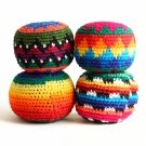 "Two Hacky Sack Assorted Random 2.75"" Soccer Kick Ball Bright Handmade Guatemala"