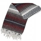 Genuine Classic Mexican Falsa Blanket Yoga Woven Serape Mexico Maroon Burgundy