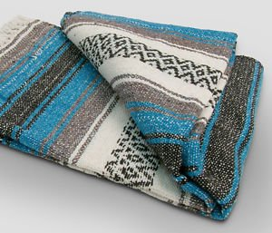 Turquoise  Mexican Falsa Blanket Great Beach Picnic Yoga Open Road Bed Throw New