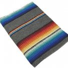 Sarape Mexico Serape Saltillo Falsa Blanket Heavy Authentic Original Silver Gray