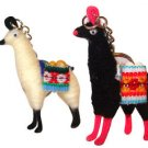 "2 Alpaca Llama Key Ring 3"" Artisan Peru Made Yarn Traditional Andes Gift Set New"