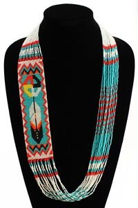 Hand Beaded Handcrafted Necklace Medicine Wheel and Feather Crystals NE146-231