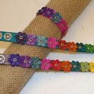 "Two Assorted Adjustable Leather Flower Bracelet Original Artisan Peru 7"" Pair PK"