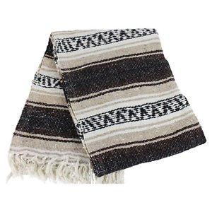 Genuine Classic Mexican Falsa Blanket Yoga Colorful Woven Serape Mexico Brown