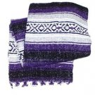 Yoga Purple Traditional Mexican Blanket Striped Premium Mexico Navajo Serape 3LB