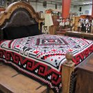 Reversible Fine Navajo Design Southwest Bedspread King Throw Sarape Blanket Red
