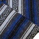 Genuine Classic Mexican Falsa Blanket Yoga Woven Throw Serape Mexico Royal Blue