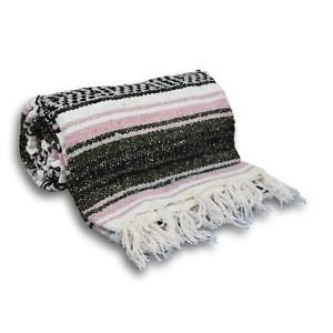 Rose / Gray  Mexican Falsa Blanket Great Beach Picnic Yoga Open Road Bed Throw