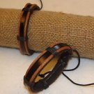 Leather Adjustable One Size Adult Bracelet Pair 2 Pack Artisan Made Roped Twist