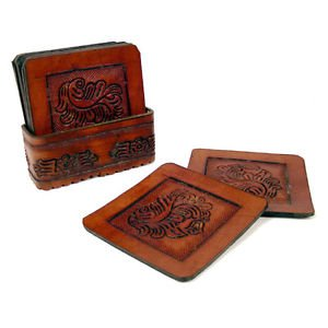 8 PC Top Grain Saddle Leather Coaster Set & Tray Hand Tooled Western Bar Brown