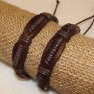 Leather Adjustable One Size Adult Bracelet Pair 2 Pack Artisan Made Adult Brown