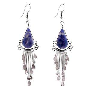 """Sodalite Lapiz Peruvian Earrings Stone Drop Artisan Alpaca Silver 2"""" Dangles Hot"""