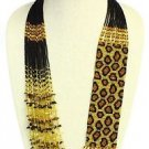 Leopard Guatemalan Glass Beads Gold and Amber Necklace Magnetic Clasp NE702-368
