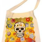 "New Skeleton Canvas Silk Screened Sugar Skull Tote 14"" x 16"" Day of Dead Bag 187"