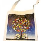 "Canvas Silk Screened Sugar Skull Tree Zombie Tote 14"" x 16"" Day of Dead Bag 186"