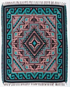 Cotton Acrylic Navajo Design Southwest Throw Sarape Blanket 4'x5' Turquoise Art
