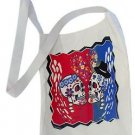 "Canvas Silk Screened Sugar Skulls Tote 14"" x 16"" Day of the Dead Muertos Bag 184"
